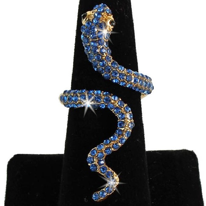 Long Sapphire Blue Pave Crystal Snake Statement Midi Ring