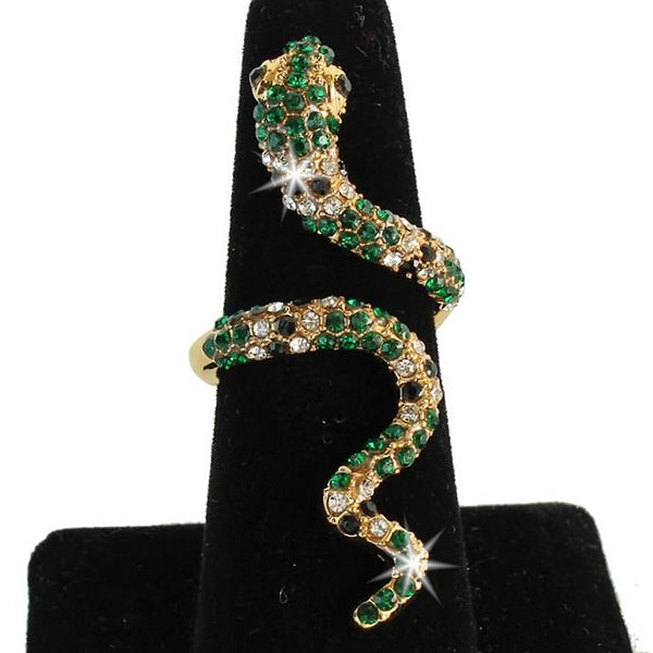 Emerald Green Pave Crystal Snake Statement Midi Ring