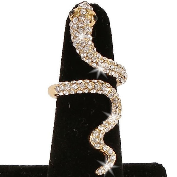 Long Gold Pave Crystal Snake Statement Midi Ring