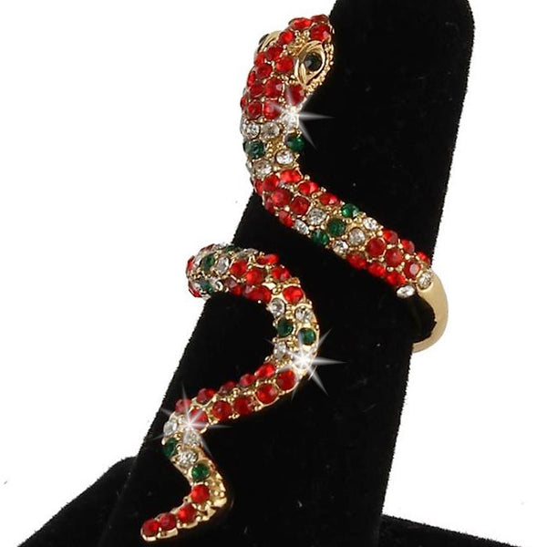 Ruby & Emerald Pave Crystal Snake Statement Midi Ring