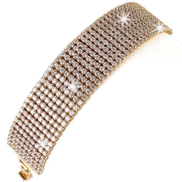 9-Line Diamond CZ Tennis Bracelet Gold