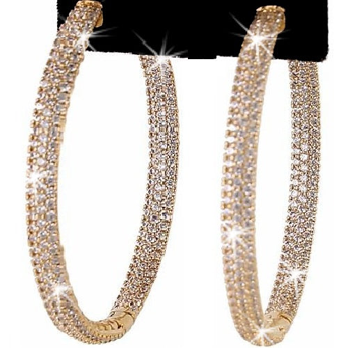 "2"" Micro Pave CZ Hoop Earrings Yellow Gold"
