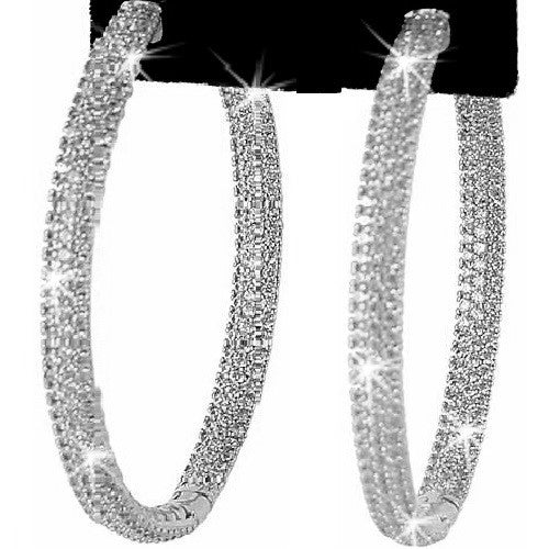 "2"" Micro Pave CZ Hoop Earrings Silver"