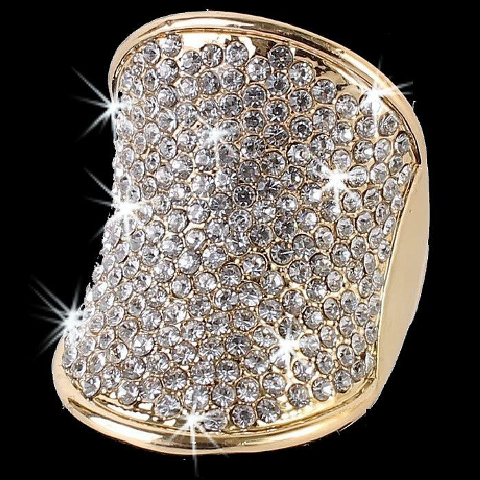 Gold Crystal Pave Set Statement BLING Ring