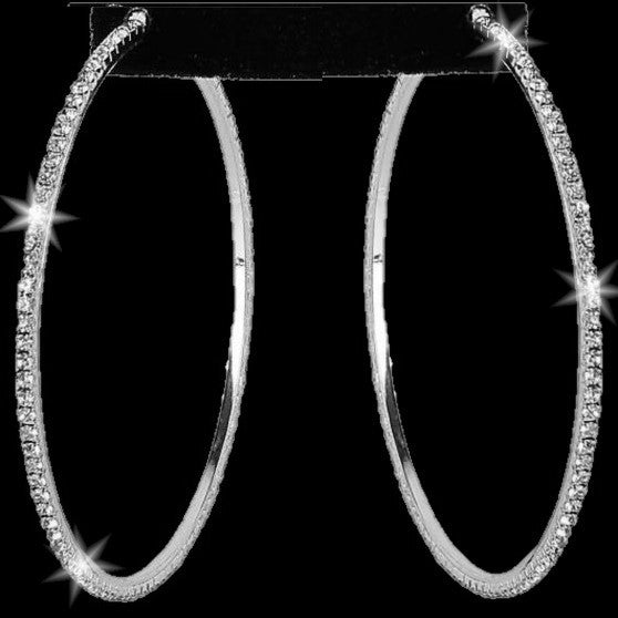 "3"" Long Pave Crystal Sparkle Hoops Silver"