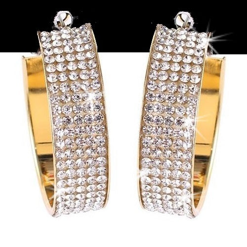 "1.5"" Pave Crystal Wide Hoop Earrings Gold"