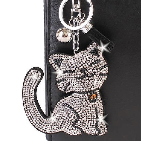 Kitty Cat  Black & White Pave Crystal Bag Charm