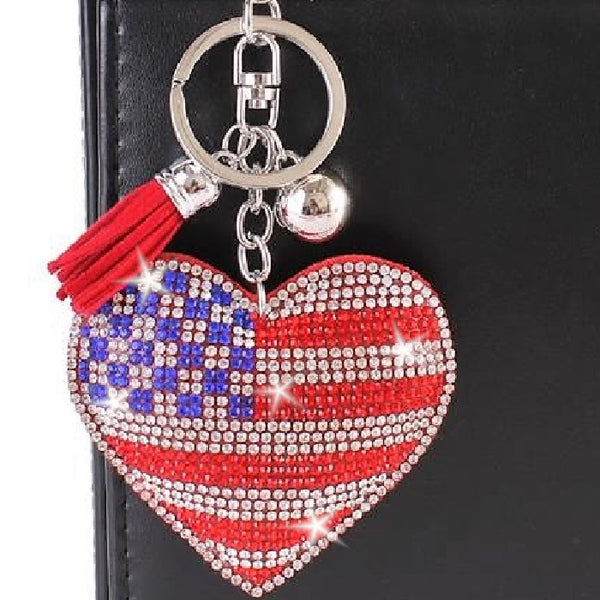 USA Red White & Blue Heart Crystal Bag Charm