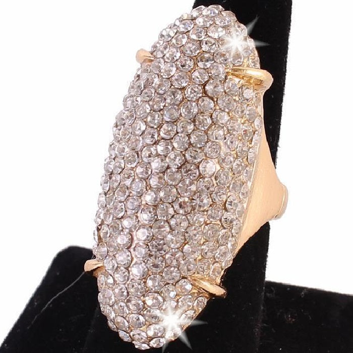 "2.3"" Gold Bling Long Pave Set Crystal Ring"