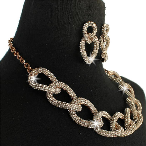 Rose Gold Chunky Chain Link Pave Crystal Earrings Set