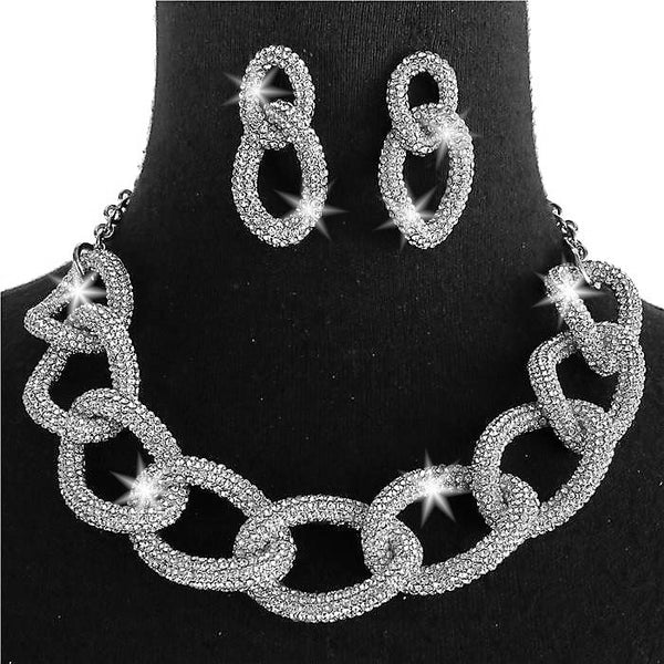 Silver Chunky Chain Link Pave Crystal Earrings Set