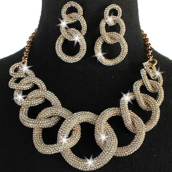 Gold Chunky Chain Link Pave Crystal Earrings Set