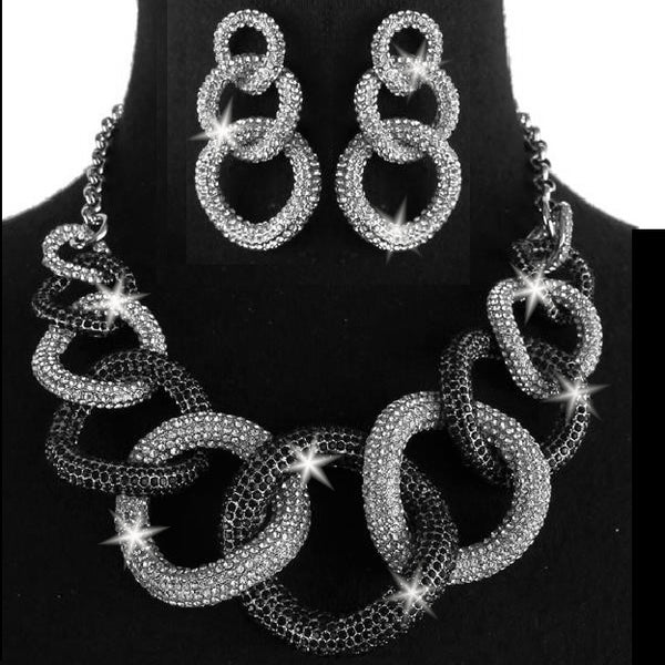 Black & White Chunky Chain Link Pave Crystal Earrings Set