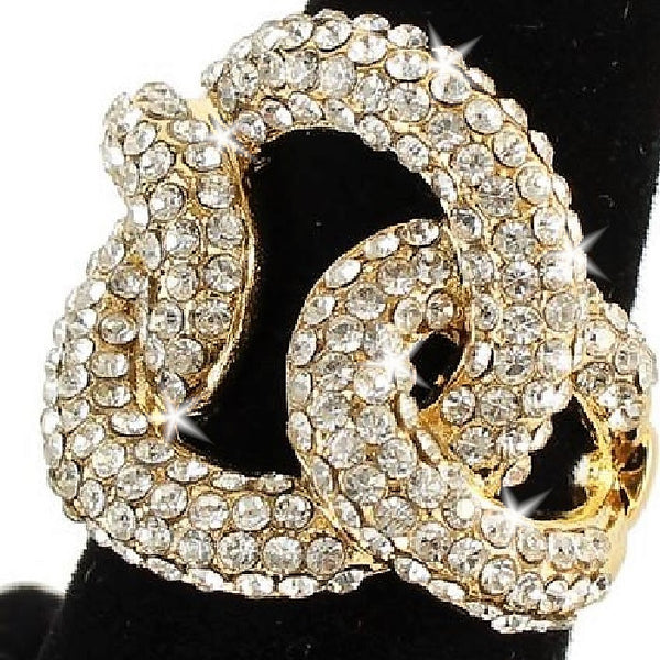 Yellow Gold Pave Crystal Swirl Ring