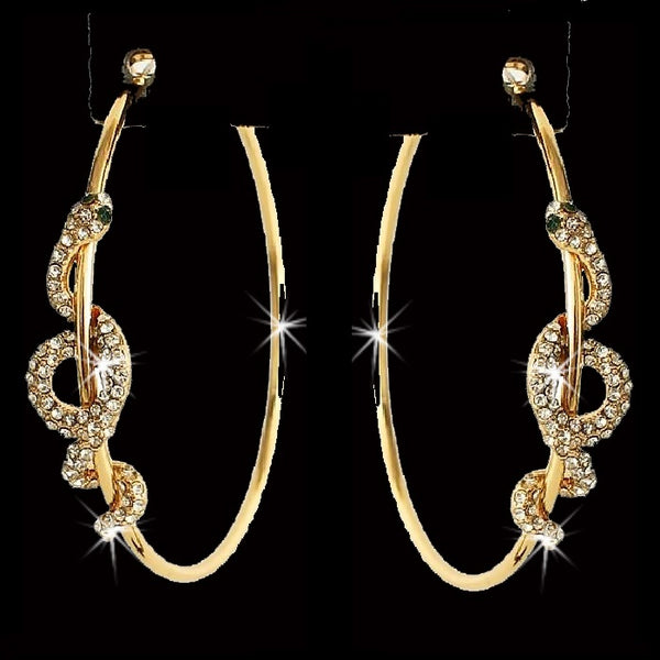 Gold Pave Crystal Snake Hoop Earrings