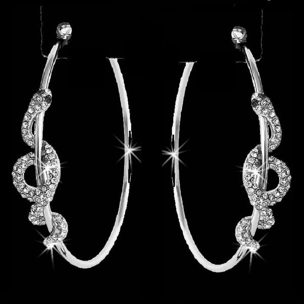 Silver Pave Crystal Snake Hoop Earrings