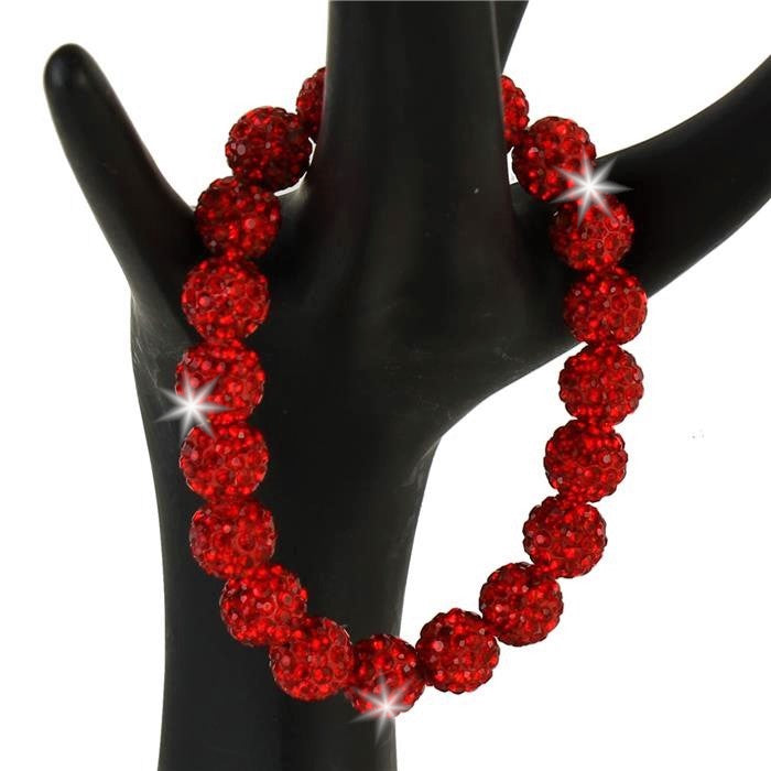 Ruby Red Disco Ball BLING Pave Crystal Tennis Bracelet