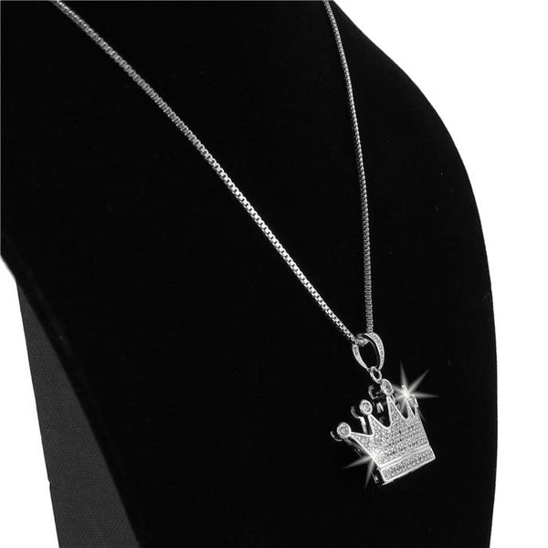 Queen Crown Micro Pave CZ Pendant Necklace Gold