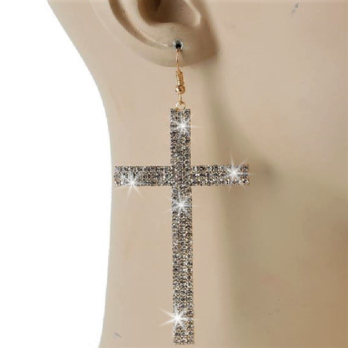 "3.7"" Pave Crystal CROSS Dangle Earrings Yellow Gold"