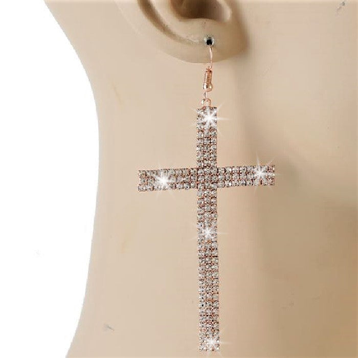 "3.7"" Pave Crystal CROSS Dangle Earrings Rose Gold"