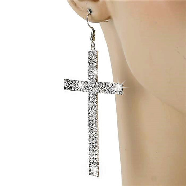 "3.7"" Pave Crystal CROSS Dangle Earrings Silver"
