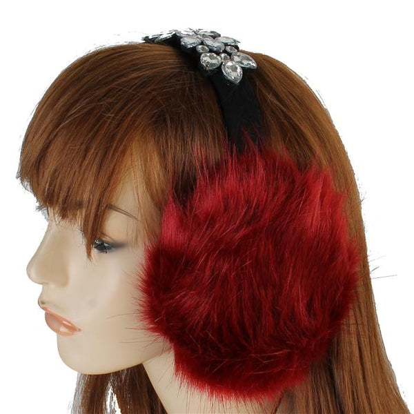 Red Faux Fur & Crystal BLING Earmuffs