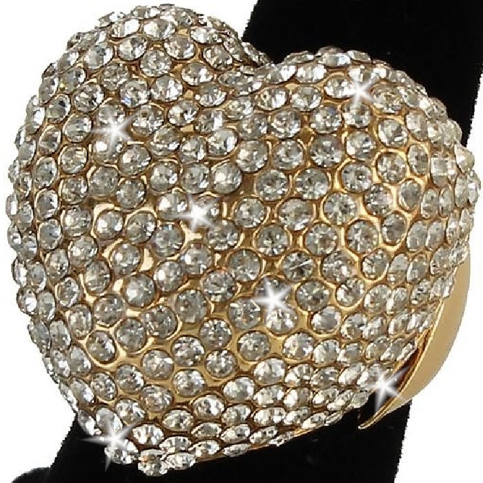 Heart Shape Bling Pave Crystal Dome Ring Gold