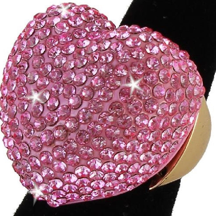 Heart Shape Bling Pave Pink Crystal Dome Ring Gold