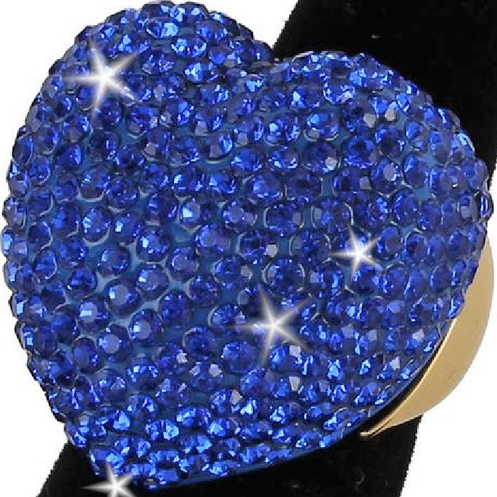 Heart Shape Bling Pave Royal Blue Crystal Dome Ring Gold