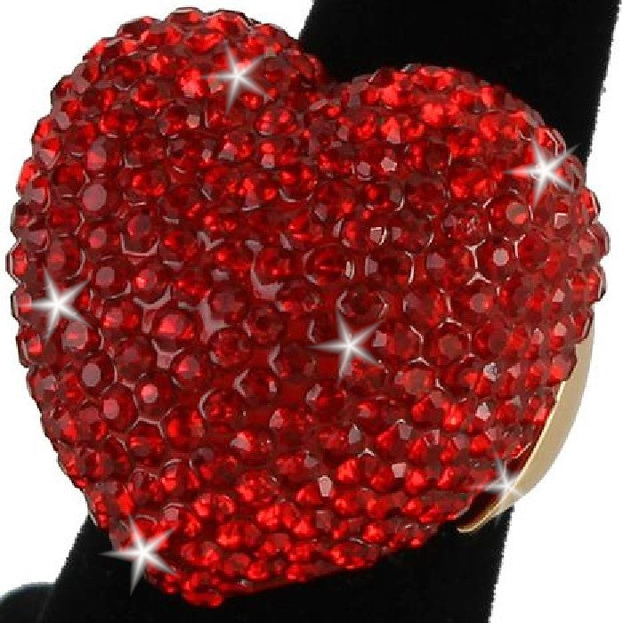 Heart Shape Bling Pave Ruby Red Crystal Dome Ring Gold