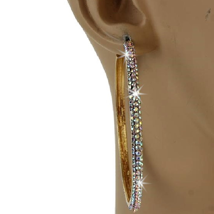 "2.5"" Gold Aurora Borealis Micro Pave Set Crystal Outside Hoop Earrings"