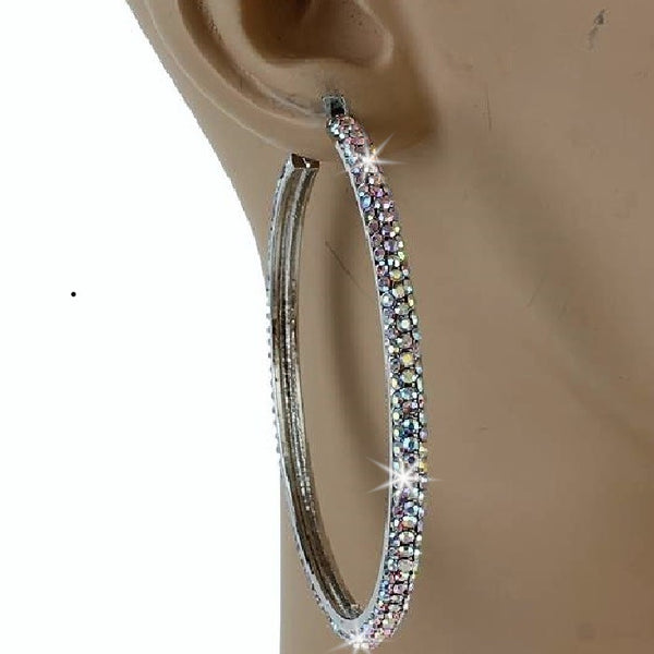 "2.5"" Silver Aurora Borealis Micro Pave Set Crystal Outside Hoop Earrings"