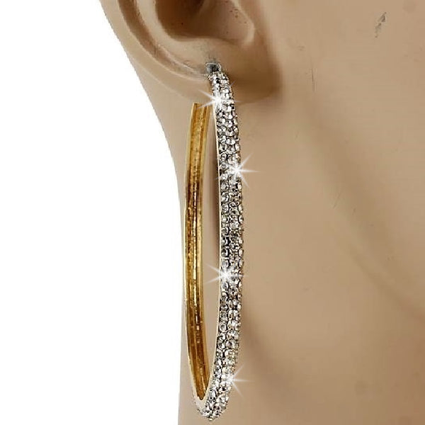 "2.5"" Gold Micro Pave Set Crystal Outside Hoop Earrings"