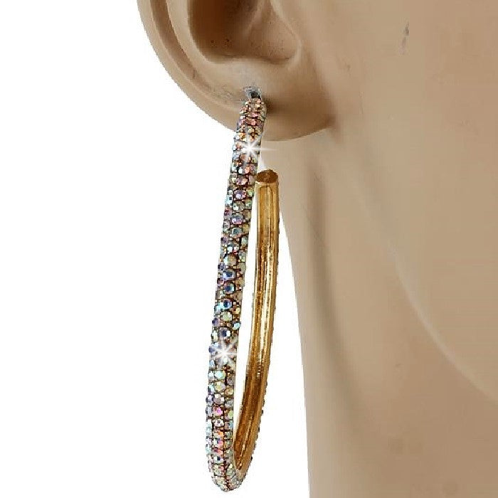 "2.25"" Gold Aurora Borealis Micro Pave Set Crystal Outside Hoop Earrings"