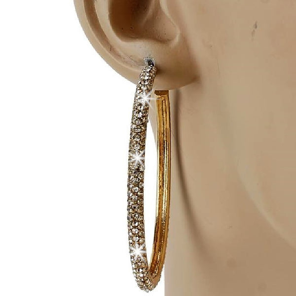 "2.25"" Gold Micro Pave Set Crystal Outside Hoop Earrings"