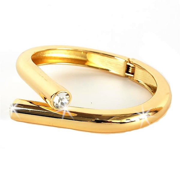 Gold CZ Bypass Bangle Cuff Bracelet