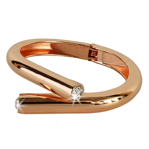 Rose Gold CZ Bypass Bangle Cuff Bracelet