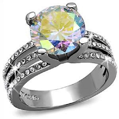 Aurora Borealis Cz Diamond Micro Pave Set Ring