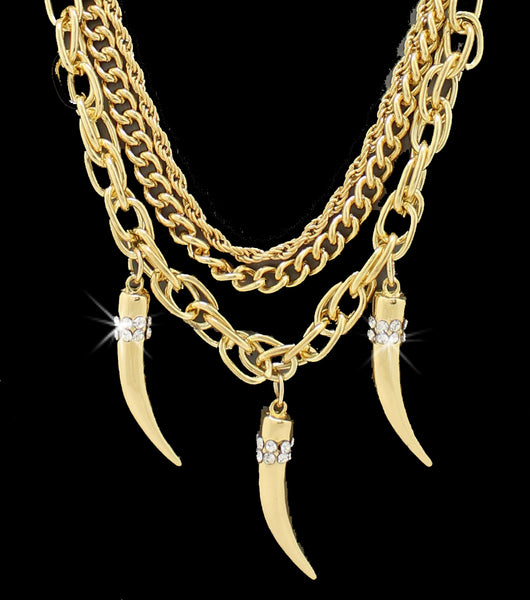 Multi Chain Italian Horn Crystal Dangle Necklace