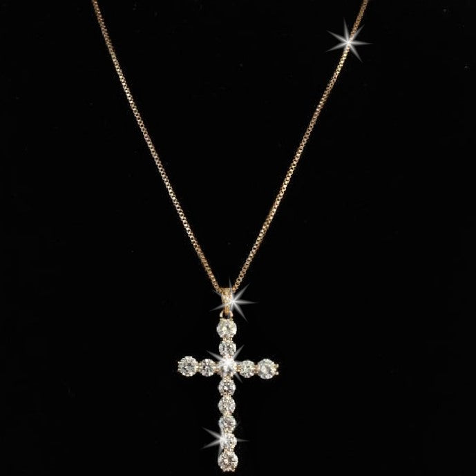 CZ Diamond Cross Pendant Necklace Yellow Gold