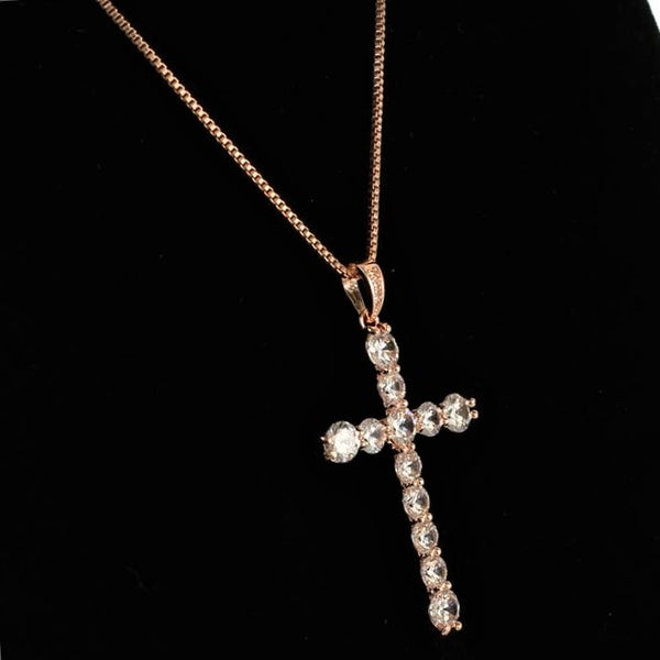 CZ Diamond Cross Pendant Necklace Rose Gold