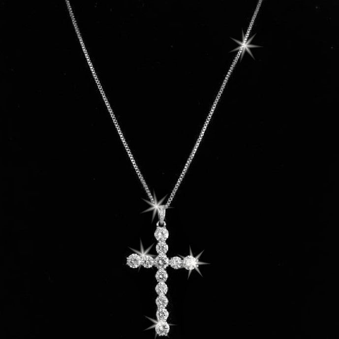 CZ Diamond Cross Pendant Necklace Silver