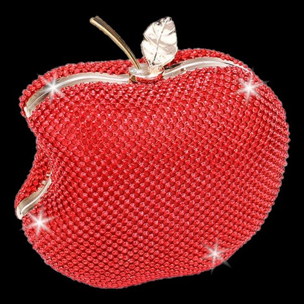 BLING Ruby Red Bitten APPLE Crystal Mini Clutch Purse