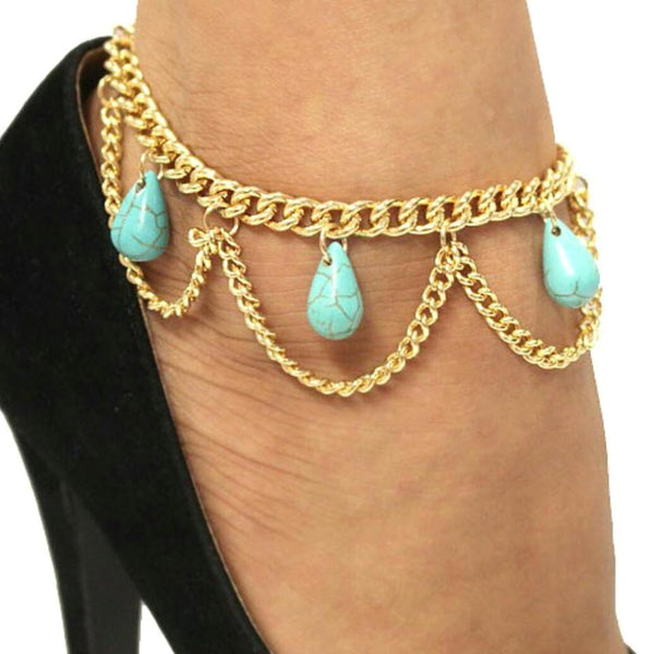 Sexy Chain Link Turquoise Gold Dangle Anklet Bracelet