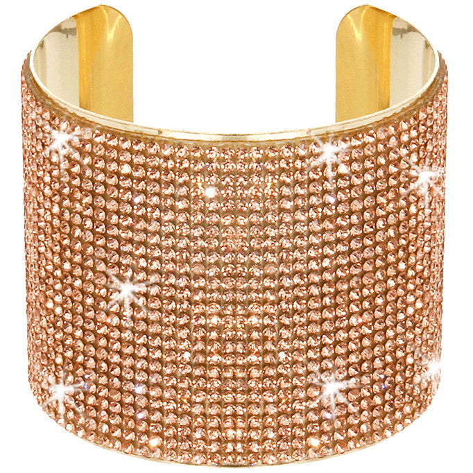 25-Line Gold Peach Pave Crystal Cuff Bracelet