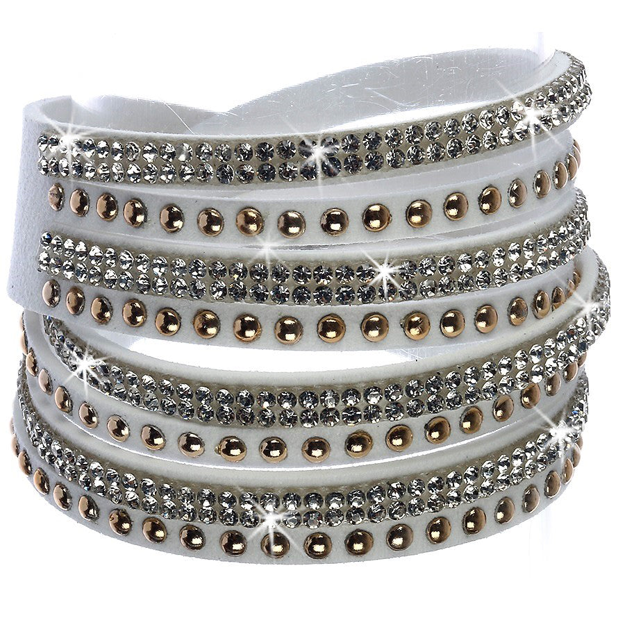 White Gold Silver Crystal Leather Wrap BLING Bracelet