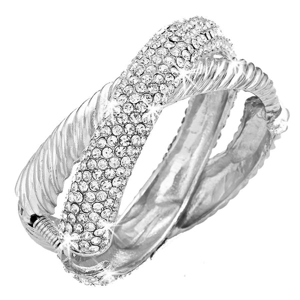 Crossover Pave Crystal Bangle Bracelet