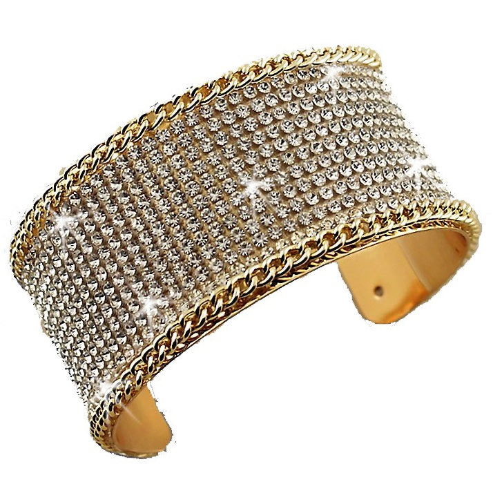 Chain Link Pave Crystal Cuff Bracelet Gold