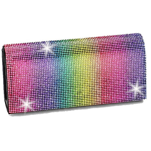 BLING Rainbow Multi Color Crystal Mini Clutch Bag