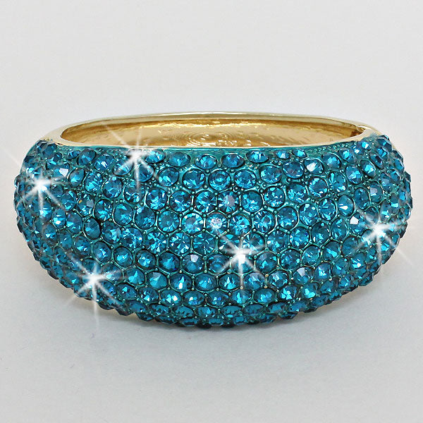 Gold Pave Crystal Blue Diamond Bling Bangle Bracelet